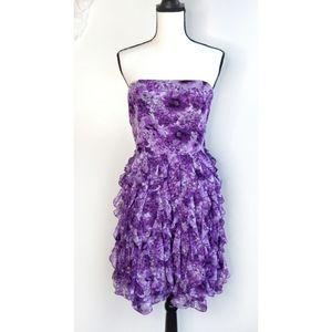 White House Black Market Purple Ruffle Dress